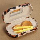 Leopard Print Contact Lens Box Travel Contact Lens Cases With Mirror