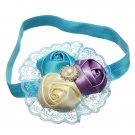 Baby Girl Three Rose Flower Rhinestone Headband Hair Band Accessories