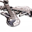 Cute Silver Keychain Mini Guitar Key Ring Chain Swarovski Crystal