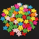 100Pcs Wooden Christmas Colorful Snowflake Shape Buttons