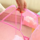 Nylon Foldable Washing Clothes Mesh Laundry Basket Bag Storage