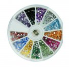 12 Colors Glitter Rhinestone Round Nail Art Decoration Wheel