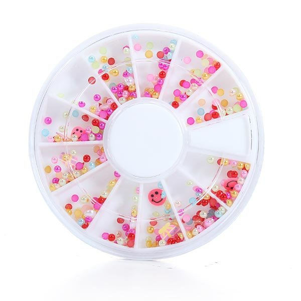 Pearl Nail Art UV Acrylic Tips Rhinestone Glitters Decoration Wheel