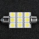 White 39mm 9 SMD LED Festoon Dome Car Bulb Light Lamp
