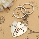 1 Pair Lovely Heart Key Keyring I LOVE YOU Lover Keychain