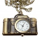 Vintage Xmas Christmas Brass Camera Necklace Pocket Watch