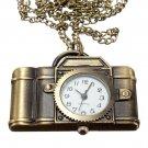Vintage Xmas Christmas Brass Camera Necklace Pocket Watch