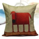 Abstract Square Printed Dog Chien Linen Pillow Case Sofa Decor Cushion