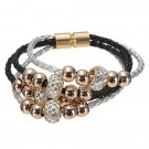 Multilayer Rhinestone Pearl Beads Bangle Braided Leather Bracelet