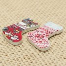 50pcs Christmas Sock Wooden Buttons 2 Holes Sewing Scrapbooking