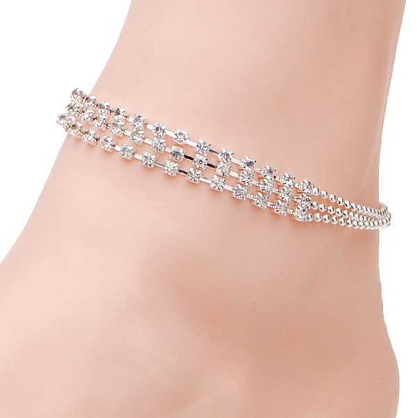 3 Rows Silver Clear Crystal Chain Anklet Bracelet Jewelry