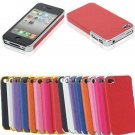 Aluminum Chrome Leather Hard Back Cover Case Protector For iPhone 4 4S