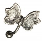 Crystal Milk White Butterfly Bow Belly Button Navel Ring Piercing