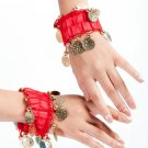 Belly Dance Wrist Ankle Cuffs Golden Coins Beads Bracelets