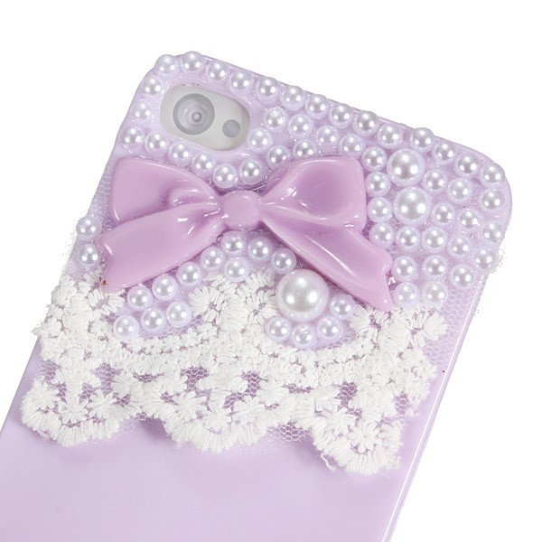 Cute Bow Lace Smooth Skin Pearl Hard Back Case Cover For iPhone 4 4S
