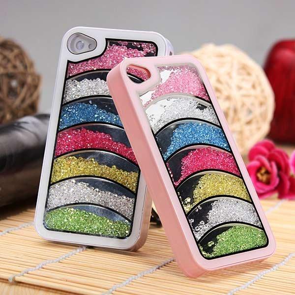 Bling Diamond Crystal Rhinestone Rainbow Hard Case For iPhone 4 4S