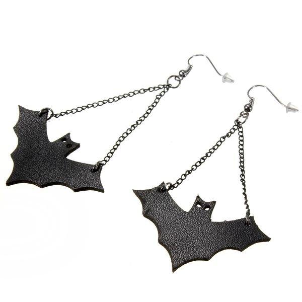 Punk Black Leather Bat Dangle Drop Pendant Earrings For Women