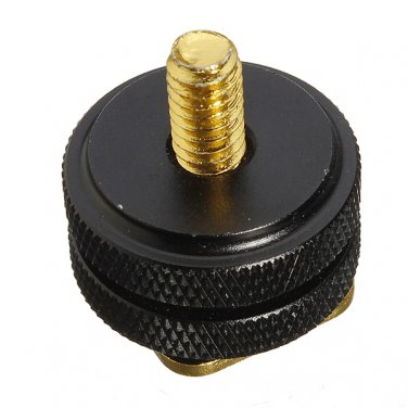 1/4 Inch Dual Gold Nuts Tripod Mount Screw To Camera Hot Shoe Adapter