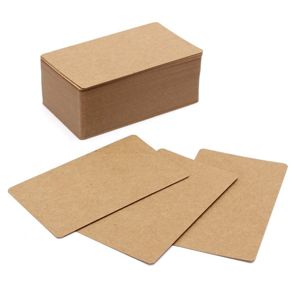 100pcs Kraft Paper Card Blank Kraft Cardboard Word Card Message Card