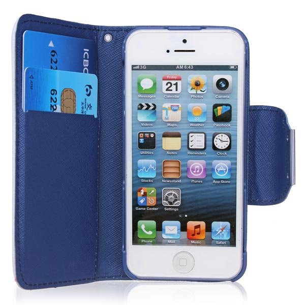 Cross Pattern Double Color PU Leather Case Cover For iPhone 5 5S