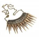 Vintage Cone Rivet Tassel Short Necklace