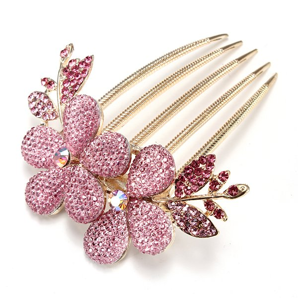 Flower Pattern Alloy Rhinestone Crystal Barrette Hair Clip Comb
