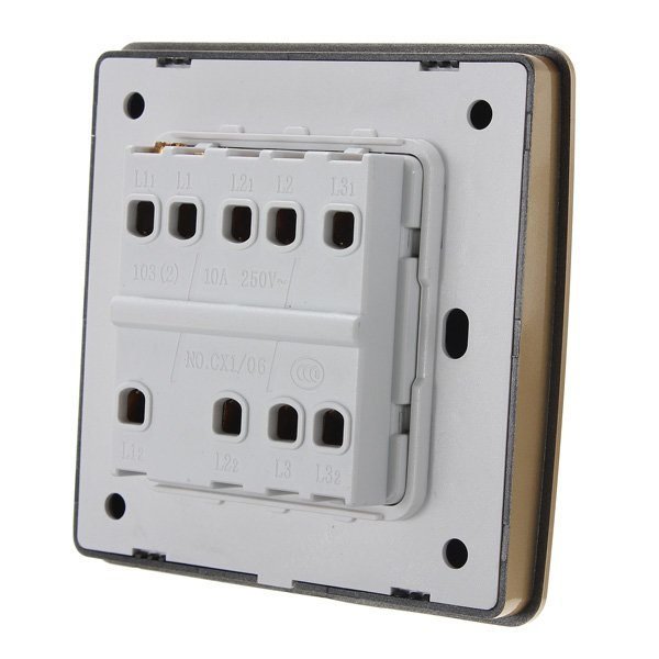 10A 220V 3 Gang Button Single / Double Control Wall Light Switch