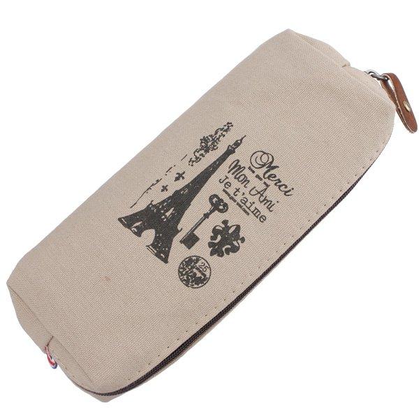 Canvas Pencil Case Cosmetic Storage Bag Paris Eiffel Tower