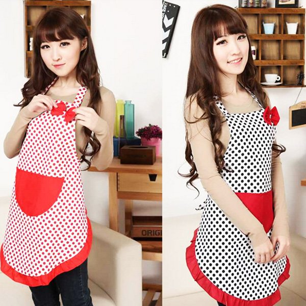 Cute Lady Polka Dot Apron Cooking Kitchen Bib Bow Pocket