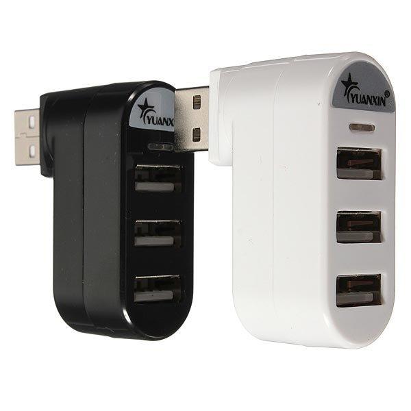 Mini 3 Port USB 2.0 Rotate External Splitter Adapter Hub for PC Laptop