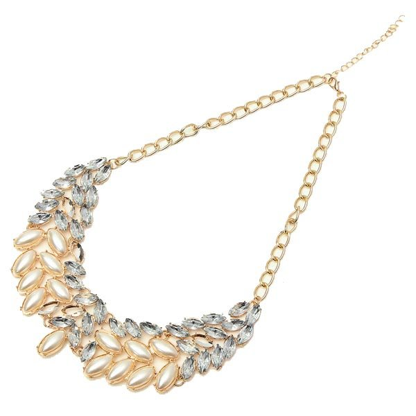 Pearl Crystal Rhinestone Collar Statement Necklace Gold Plated Chain