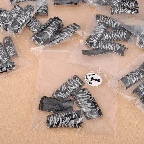 100pcs silver Leopard black  False Acrylic 3D Nail Art Tips