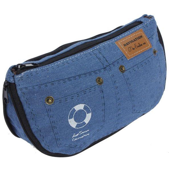 Women Canvas Jeans Pencil Case Makeup Bag Cosmetic Pouch Purse