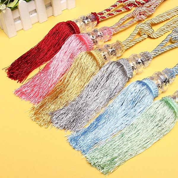 1 Pair Crystal Beaded Tassels Tieback Curtain Cord 6 Colors