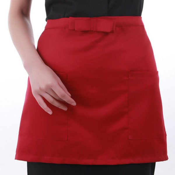 Cotton Short Half Waist Apron Home Kitchen Aprons With Pockets