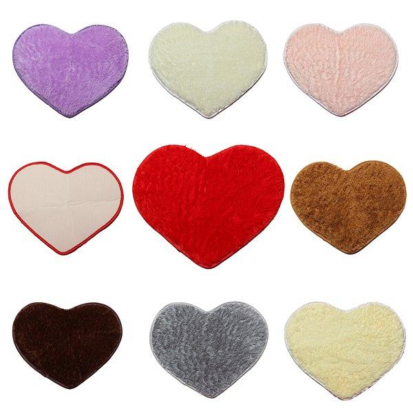 Shaggy Heart Shower Rug Bath Mat Carpet Doormat Home Decor