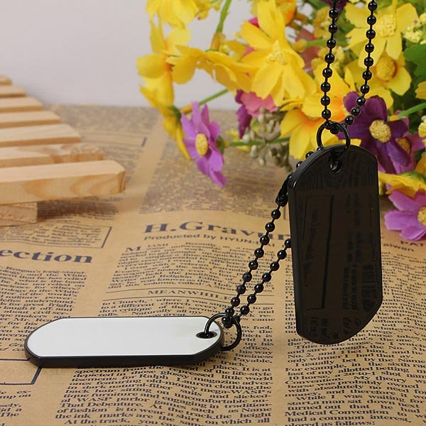 Men Army Style White And Black 2 Dog Tag Pendant Necklace