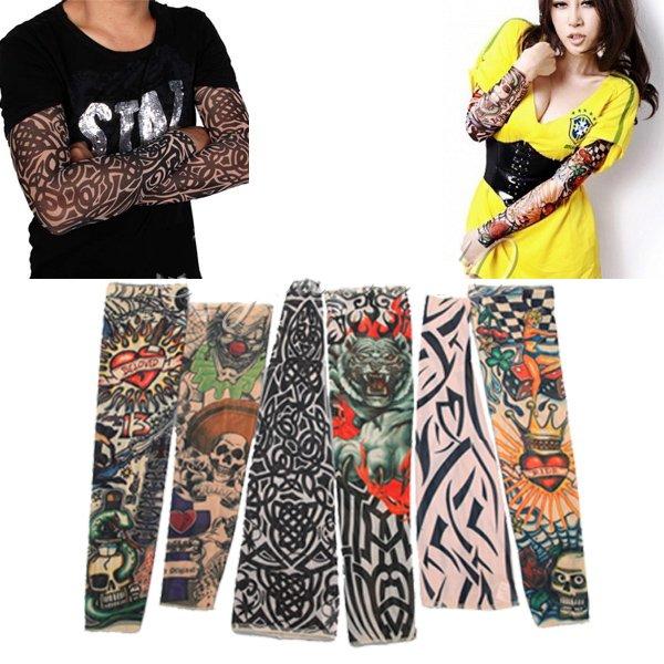Goth Nylon Stretchy Fake Tattoo Leopard Sleeve Arm Stocking