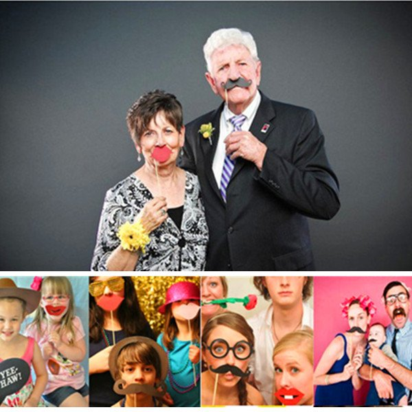 17Pcs DIY Photo Booth Props Stick Christmas Party Wedding Decor