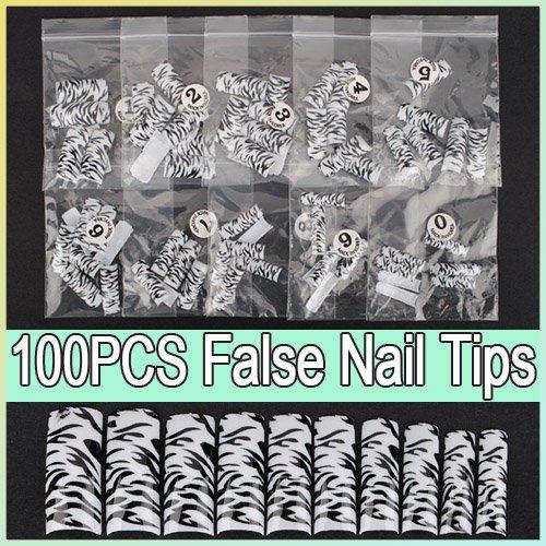 100pcs Black Leopard Dots False Acrylic 3D Nail Art Tips