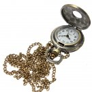 Vintage Brass Animal Carved Pendant Necklace Quartz Pocket Watch
