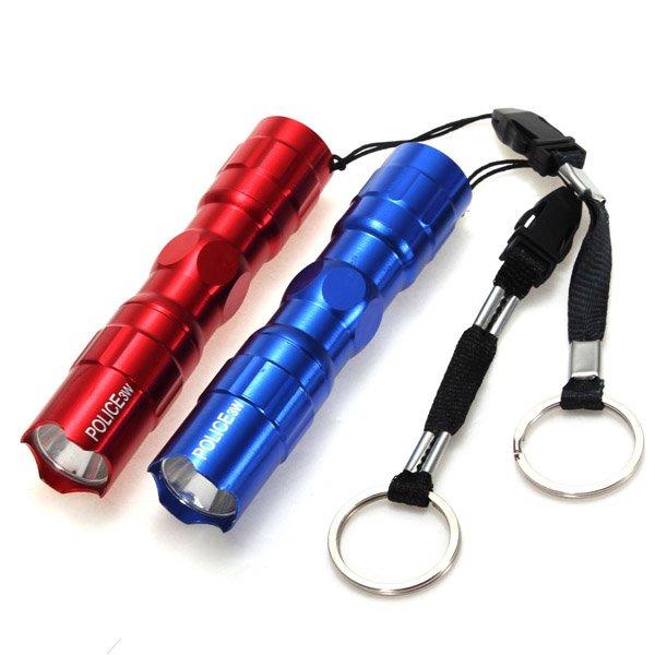 3W Mini Police Super Bright LED Torch Flashlight Keychain