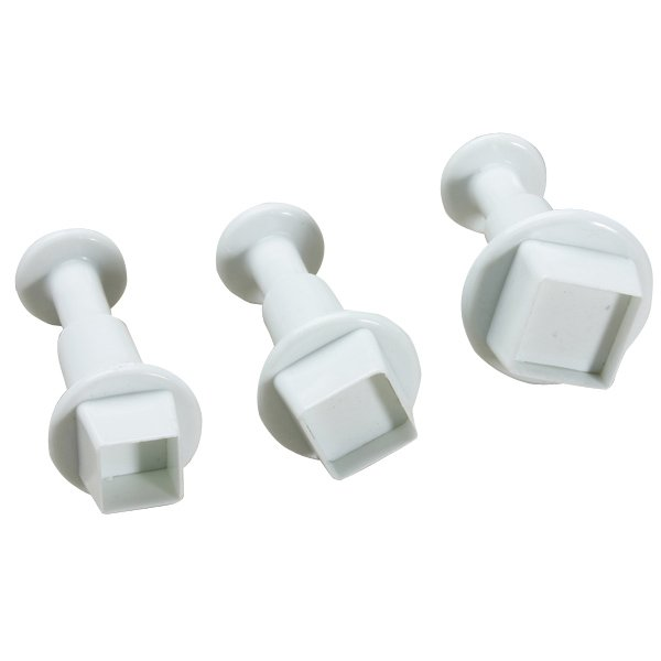 3pcs Square Shape Cake Plunger Cutters