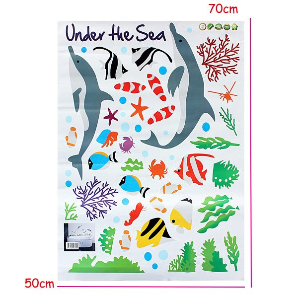 Vinyl dolphin and fish wall stickers under the sea for Under the sea bathroom ideas