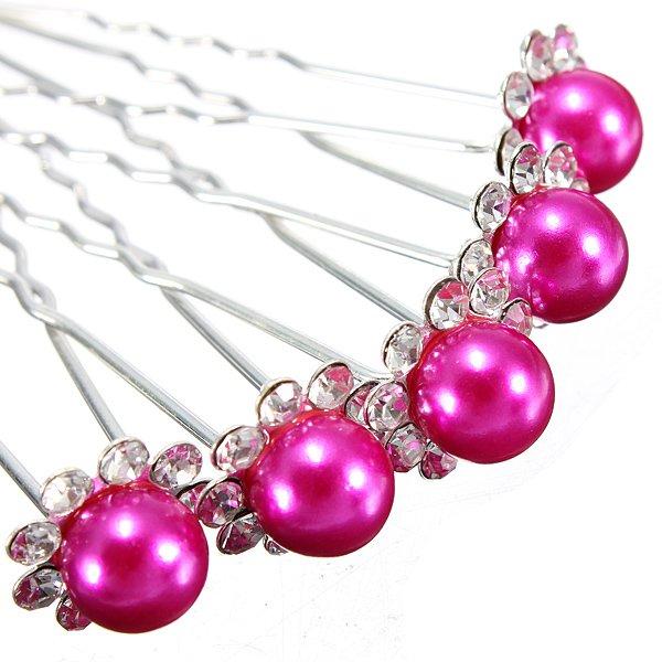 5pcs Wedding Crystal Rhinestone Pearl Flower Hairpins