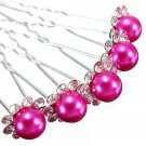 5pcs Wedding Crystal Rhinestone Pearl Flower Hairpins