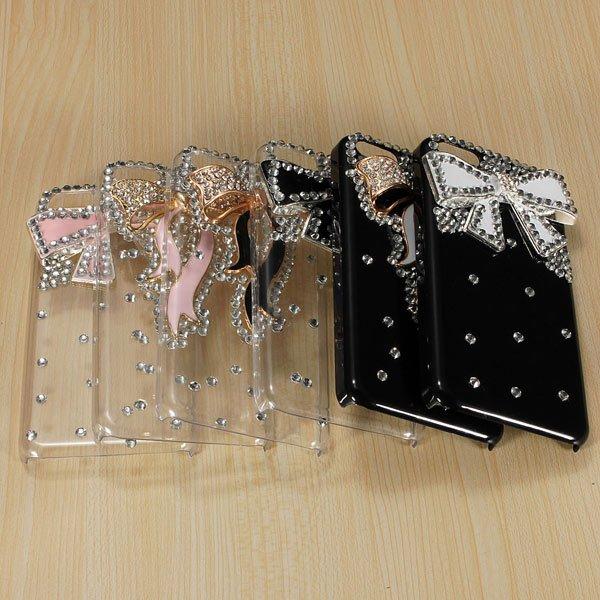 3D Bling Crystal Diamond Rhinestone Bow Hard Back Case For iPhone 5C
