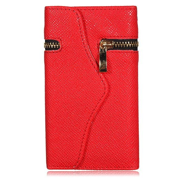 Zipper Envelope Purse Leather Wallet Design Case Cover for iPhone 5