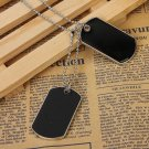 Men Army Style Black 2 Dog Tags Pendant Necklace Ball Chain