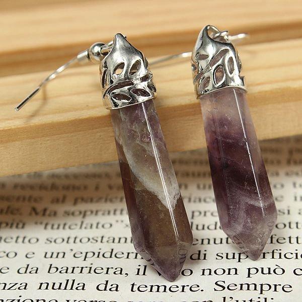 Vintage Hexagonal Pendulum Gemstone Column Dangle Earrings Eardrop